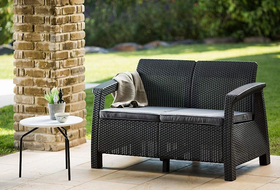 <p>We're so into this compact <span>Keter Corfu Love Seat All Weather Outdoor Patio Garden Furniture</span> ($162).</p>