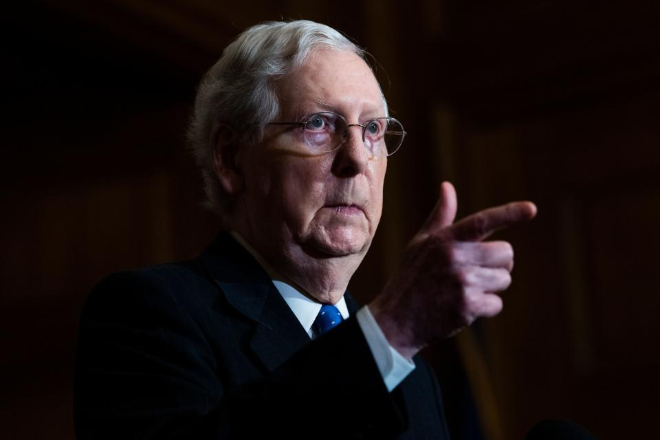 Senate Majority Leader Mitch McConnell (R-Ky), hold a news conference after the Senate Republican Policy luncheon on Capitol Hill in Washington, DC on December 1, 2020. (Photo by Tom Williams / POOL / AFP) (Photo by TOM WILLIAMS/POOL/AFP via Getty Images)