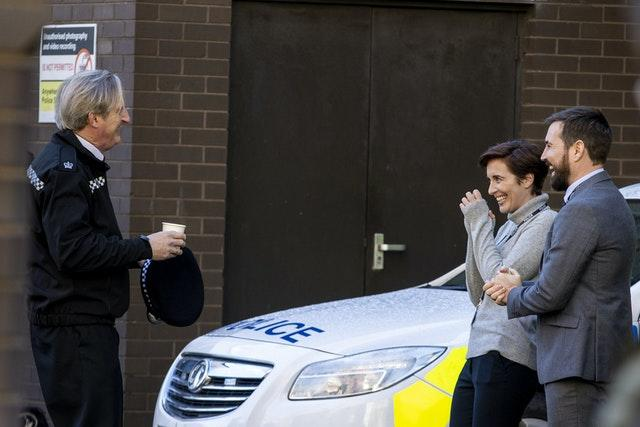Adrian Dunbar, Vicky McClure and Martin Compston on the set of the sixth series of Line of Duty, which is filming in the Cathedral Quarter, Belfast