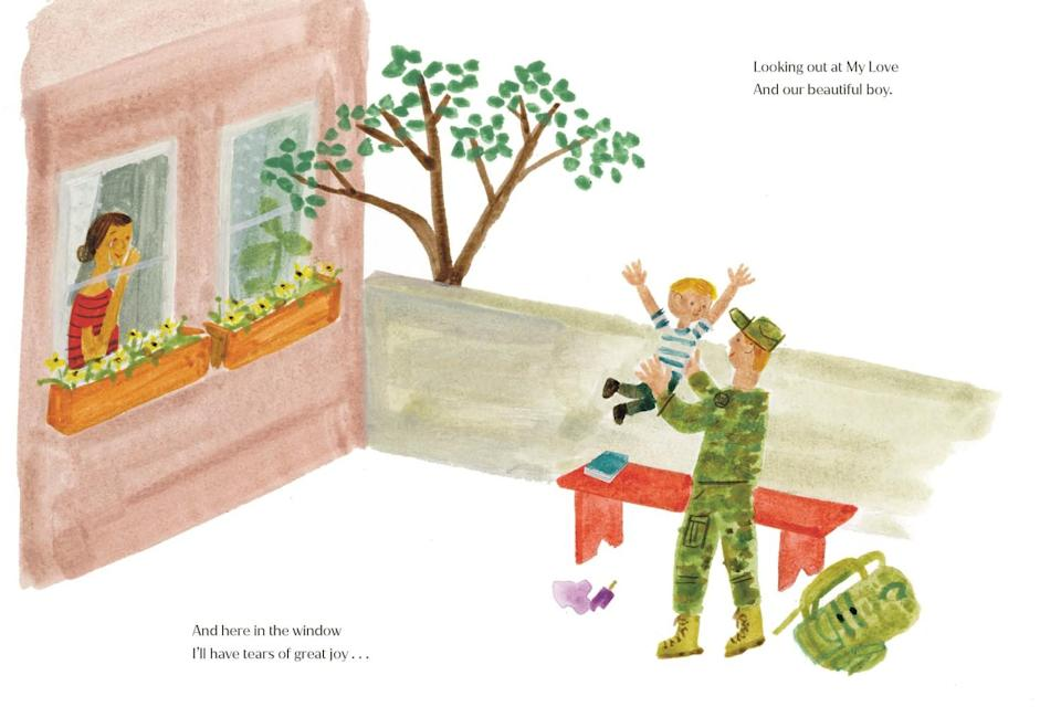 A watercolor shows a woman at a window and a man in camouflage gear tossing a boy in the air.