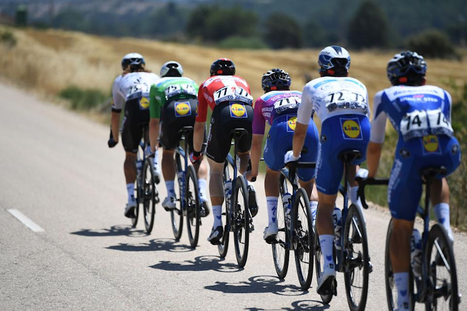 LAGUNAS DE NEILA SPAIN  AUGUST 01 Michael Mrkv of Denmark and Team Deceuninck  QuickStep  Remco Evenepoel of Belgium and Team Deceuninck  QuickStep Purple Leader Jersey  Peloton  during the 42nd Vuelta a Burgos 2020 Stage 5 a 158km stage from Covarrubias to Lagunas de Neila 1872m  VueltaBurgos  on August 01 2020 in Lagunas de Neila Spain Photo by David RamosGetty Images