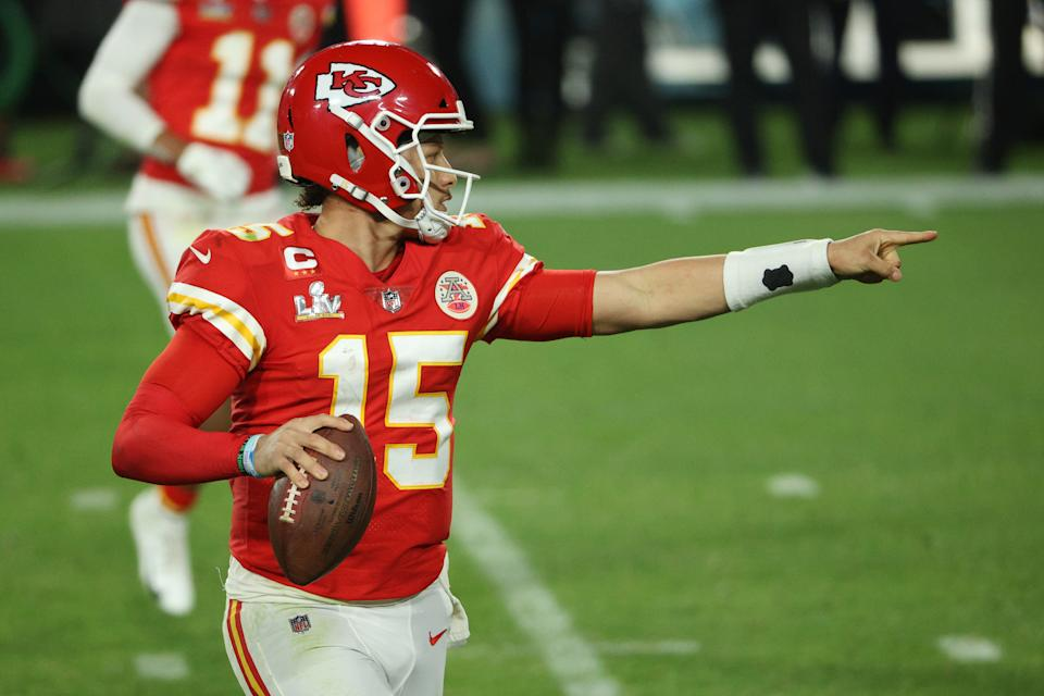 Patrick Mahomes says he didn't mean to take a shot at Justin Herbert. (Photo by Patrick Smith/Getty Images)