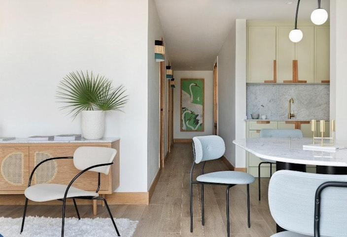 The green color was part of the original kitchen and one of the only elements that was kept from the previous iteration of the home.