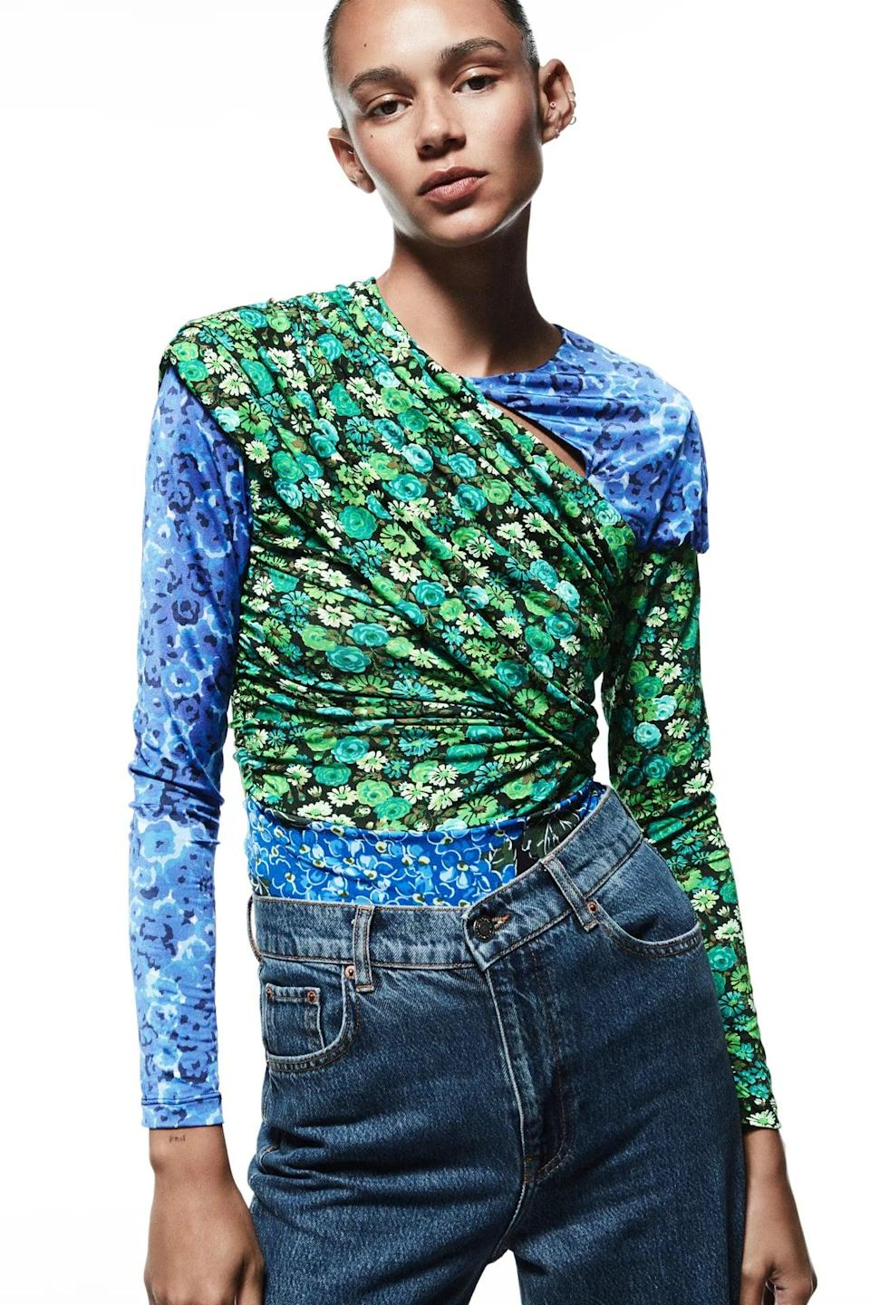 <p>This <span>Draped Print Top</span> ($40) looks like a tasteful patchwork of florals, and we're loving the visual effect. Allow it to shine by keeping the rest of the look simple.</p>