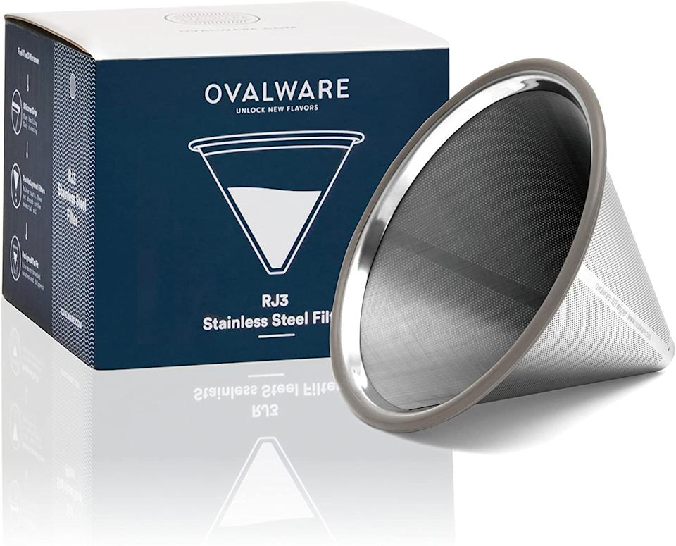"""<h2>Ovalware Reusable Stainless Steel Coffee Filter</h2><br>This stainless steel coffee filter is a game-changer for all coffee fanatics. Ovalware's single reusable and reliable filter can take the place of the hundreds of flimsy paper filters filling up our trash cans every morning! One coffee lover on Amazon was completely convinced of its impressive abilities after a flawless three weeks of use: """"I was a little skeptical that a steel filter would not filter my coffee as well as a paper one, would, but after nearly 3 weeks of daily use, I am won over. I grind my own coffee beans to an espresso grind... almost a powder.... and the results of my brewing surprised me at first. Even with such a fine grind, I have virtually no sediment in my coffee, which is the same result I had when using a paper filter in my Chemex carafe."""" <br><br><em>Shop <a href=""""https://amzn.to/3hNBUod"""" rel=""""nofollow noopener"""" target=""""_blank"""" data-ylk=""""slk:Ovalware"""" class=""""link rapid-noclick-resp""""><strong>Ovalware</strong></a></em><br><br><strong>Ovalware</strong> Paperless Stainless Steel Pour Over Coffee, $, available at <a href=""""https://amzn.to/33MjYFw"""" rel=""""nofollow noopener"""" target=""""_blank"""" data-ylk=""""slk:Amazon"""" class=""""link rapid-noclick-resp"""">Amazon</a>"""