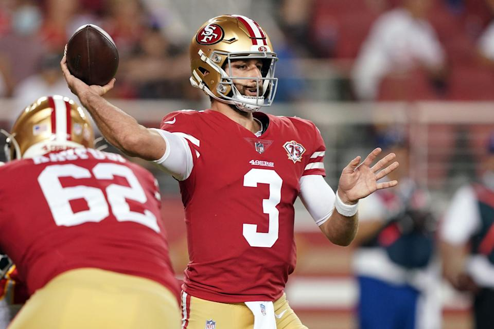 Former San Francisco 49ers quarterback Josh Rosen (3) throws a pass during the fourth quarter against the Kansas City Chiefs at Levi's Stadium. Rosen was waived last week and has reportedly been signed by the Falcons.