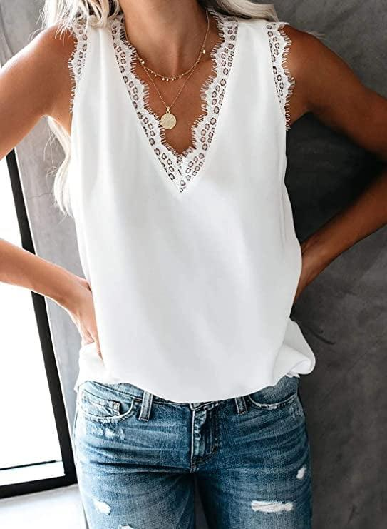 <p>This <span>Ecrocoo V-Neck Lace Trim Cami</span> ($20) also comes in black.</p>