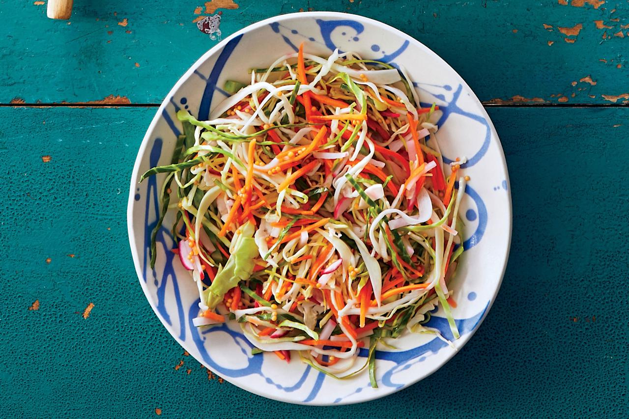 """<p>This light, <a href=""""https://www.southernliving.com/food/entertaining/coleslaw-recipes"""">healthy slaw recipe</a> is mildly acidic and full of flavor. The veggies will soften slightly but retain their crunch that will add texture to any meal. This bright slaw is the ideal summer side to pair with kebabs, pulled pork, fried catfish, or any classic warm-weather main dishes. If you've never pickled anything, this <a href=""""https://www.southernliving.com/recipes/traditional-quick-pickled-brussels-sprouts-recipe"""">easy quick pickle</a> is a great place to start. Our Test Kitchen professionals recommend serving this salad the day you prepare it for ultimate freshness. This healthy side is a no-guilt dish you can make all summer long, and every cookout guest will rave over it.</p> <p><a href=""""https://www.myrecipes.com/recipe/quick-pickled-slaw"""">Quick Pickled Slaw Recipe</a></p>"""