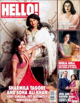 <p>Soha and her mommy Sharmila turned cover girls for Hello magazine's February 2010 edition. Soha sizzled in a stunning red saree with heavy embroidery and sequence, while Sharmila Tagore kept it simple and stylish in an off-white number. Elegant and classy, we must admit!</p>