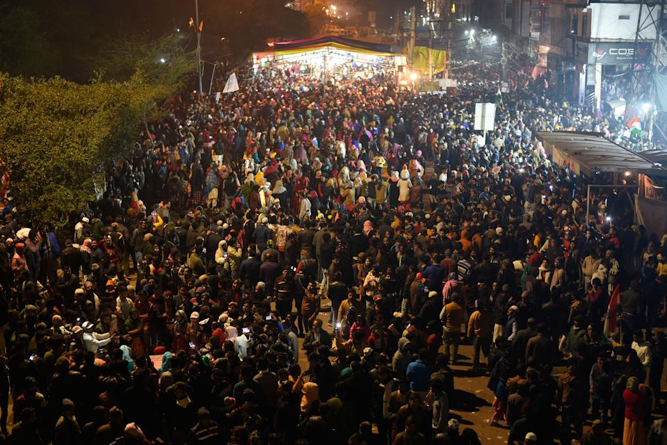 NEW DELHI, INDIA - JANUARY 19: People gathered in numbers to protest against the Citizenship Amendment Act (CAA) at Shaheen Bagh, on January 19, 2020 in New Delhi, India. (Photo by Burhaan Kinu/Hindustan Times via Getty Images)