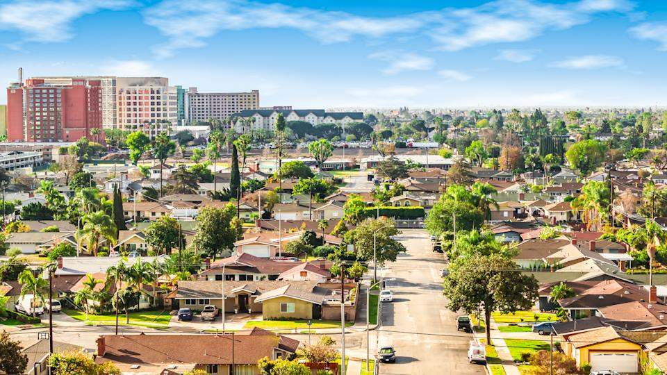 Bright and colorful image of residential area in Anaheim, Orange County, California.