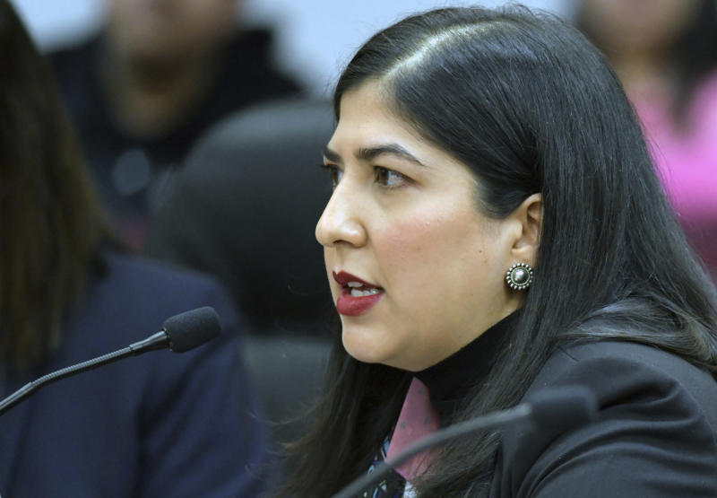 Jacqueline De León, an attorney at Native American Rights Fund, testifies on 4-16-2019 in front of the House Administration Subcommittee on Elections at a field hearing in Fort Yates, N.D., Tuesday, April 16, 2019, related to voting rights and election administration accountability. (Mike McCleary/The Bismarck Tribune via AP)