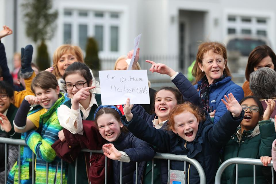 Children gather outside Salthill Knocknacarra GAA Club in Galway, as they await the arrival of the Duke and Duchess of Cambridge for a visit to the club to learn more about traditional sports during the third day of their visit to the Republic of Ireland. PA Photo. Picture date: Thursday March 5, 2020. See PA story ROYAL Cambridge. Photo credit should read: Niall Carson/PA Wire