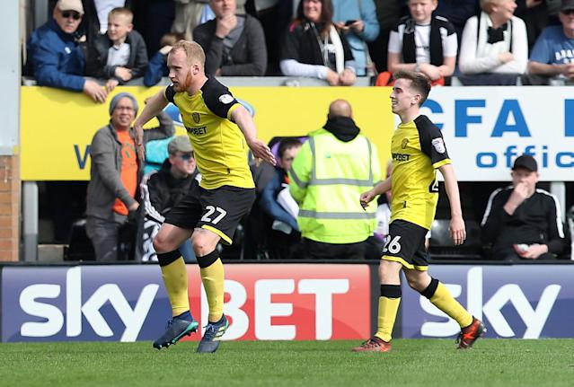 "Soccer Football - Championship - Burton Albion vs Derby County - Pirelli Stadium, Burton-on-Trent, Britain - April 14, 2018 Burton Albion's Liam Boyce celebrates scoring their first goal Action Images/John Clifton EDITORIAL USE ONLY. No use with unauthorized audio, video, data, fixture lists, club/league logos or ""live"" services. Online in-match use limited to 75 images, no video emulation. No use in betting, games or single club/league/player publications. Please contact your account representative for further details."