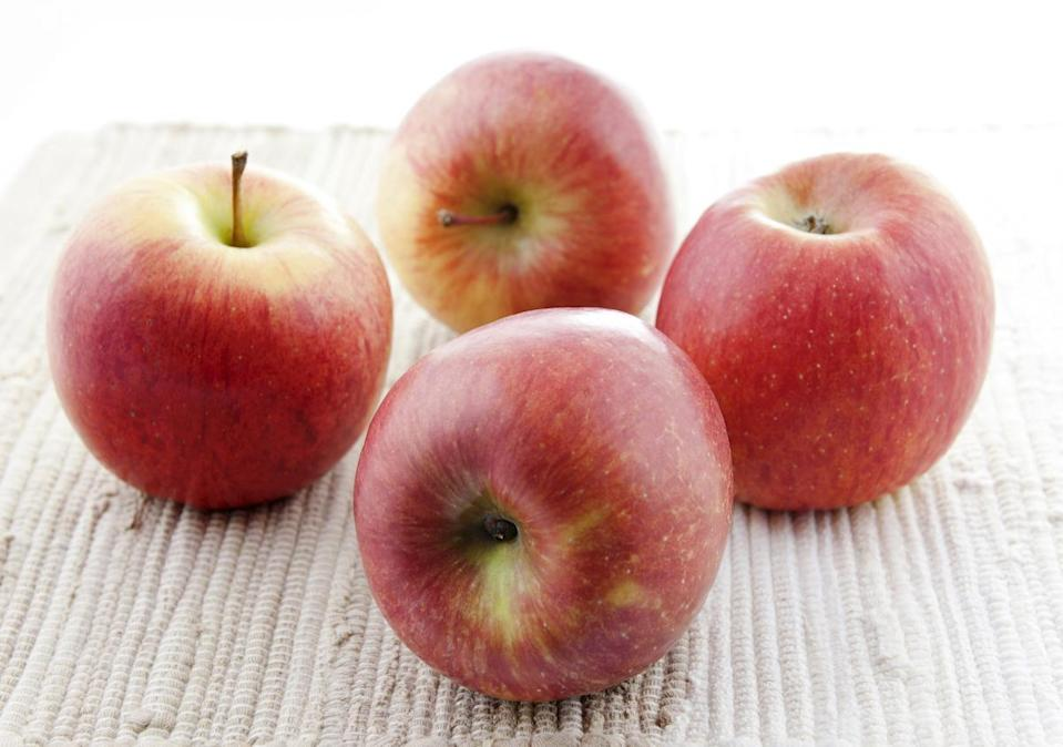 <p>Developed in Japan in the 1930s, Fuji apples didn't catch on in America until the 1980s. They're sweet, crisp, firm, low in acid and have notes of honey and citrus.</p>