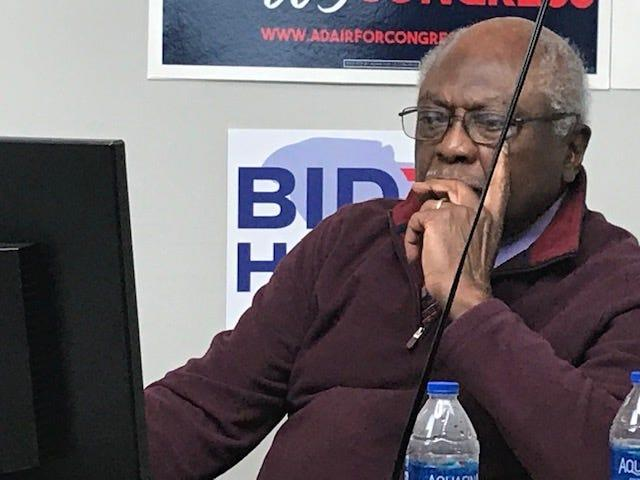 Rep. James Clyburn, D-S.C., urges voters to cast their ballots before the polls close on election night, Nov. 3, 2020, from his campaign headquarters in Columbia.