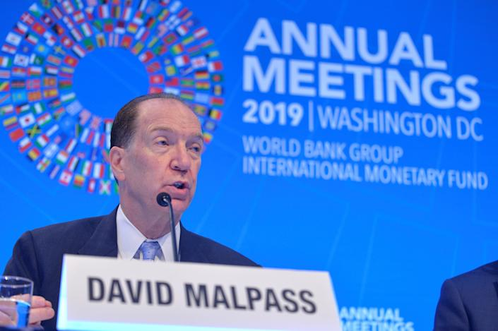 World Bank President David Malpass responds to a question from a reporter during an opening press conference at the IMF and World Bank's 2019 Annual Fall Meetings of finance ministers and bank governors, in Washington, U.S., October 17, 2019. REUTERS/Mike Theiler