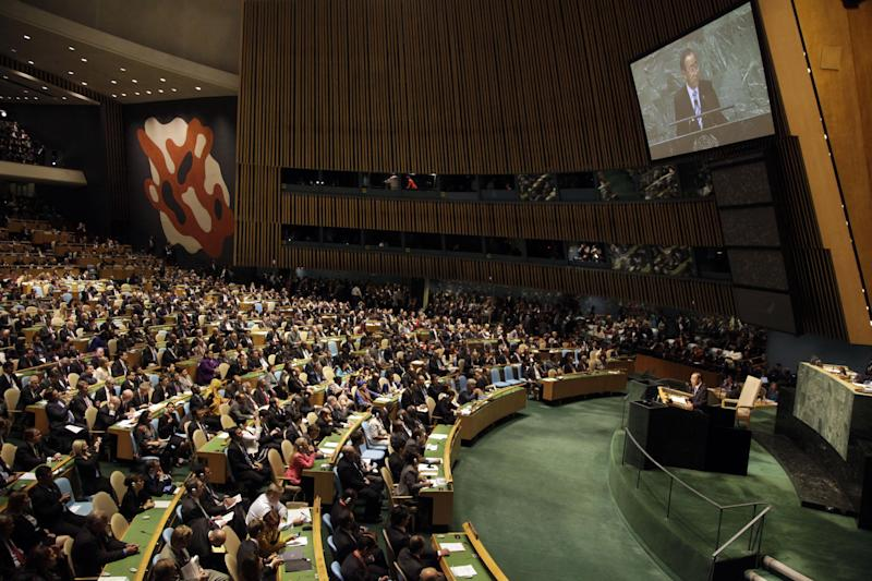 United Nations Secretary-General Ban Ki-moon addresses the 67th session of the U.N. General Assembly at U.N. headquarters Tuesday, Sept. 25, 2012. (AP Photo/Mary Altaffer)