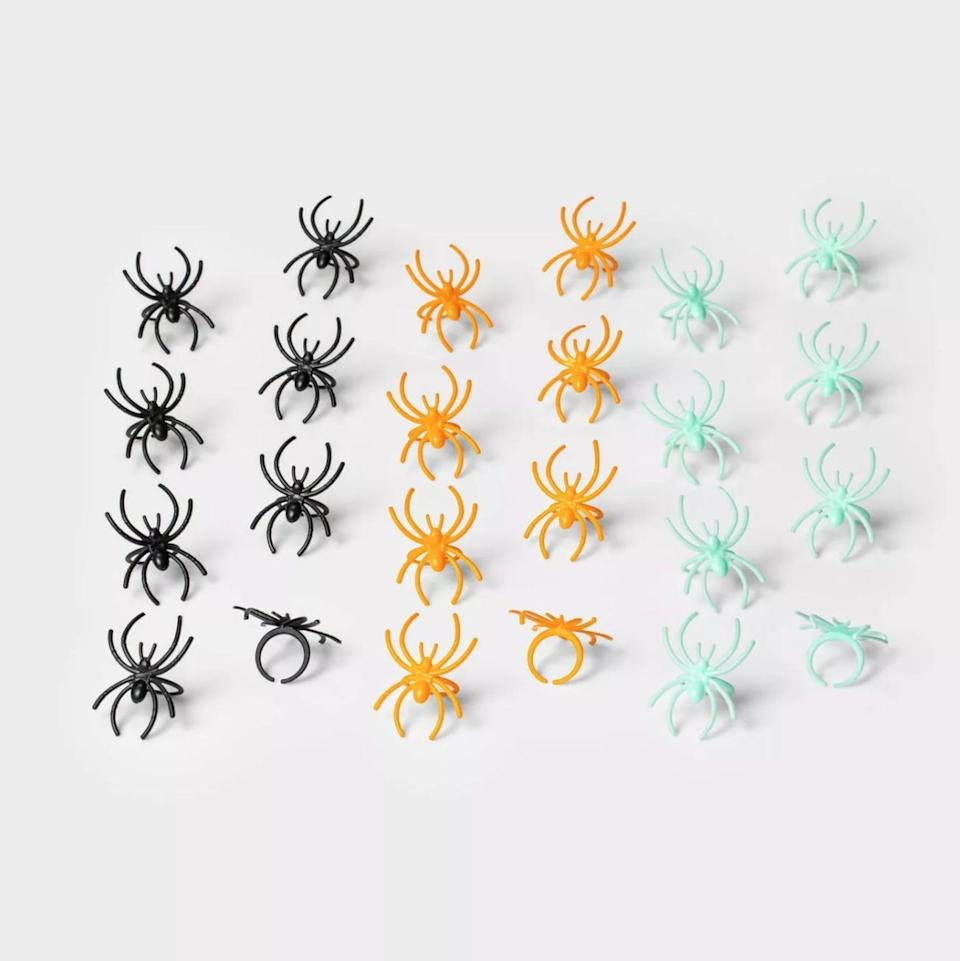 <p>Remember these classic toys from back in the day? Well the <span> Hyde & EEK! Boutique 24-Count of Spider Rings</span> ($1) gave them a major color upgrade!</p>