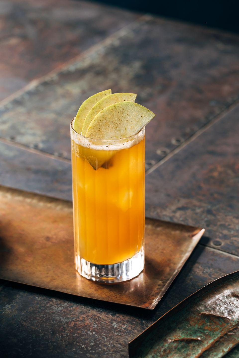 """<p>Even if you love your single malt neat, you just may change your mind when you sip this cinnamon-y, pumpkin-y libation. </p><p><strong>Ingredients:</strong></p><p>1.5 oz <a href=""""https://drizly.com/liquor/whiskey/single-malt-whiskey/the-singleton-of-glendullan-single-malt-12-year/p6160"""" rel=""""nofollow noopener"""" target=""""_blank"""" data-ylk=""""slk:The Singleton of Glendullan 12 Year Old"""" class=""""link rapid-noclick-resp"""">The Singleton of Glendullan 12 Year Old</a><br>.5 oz Fresh Lemon Juice<br>1 oz Apple cider<br>.25 oz Cinnamon syrup <br>1 bar spoon Pumpkin butter</p><p> <strong>Directions:</strong></p><p>Add all ingredients into a shaker. Add ice and shake until chilled</p>"""