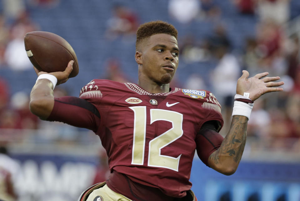 <p>On the rise: Deondre Francois, Florida State — Sleeper Heisman candidate? If Florida State beats Alabama and Francois plays well, the Heisman hype will begin. FSU lost WR Travis Rudolph and RB Dalvin Cook, but WRs Nyquan Murray and Auden Tate are ready to step in as Francois' top two weapons. The QB does need to get his completion percentage over 60 percent, however. (Photo credit: AP) </p>