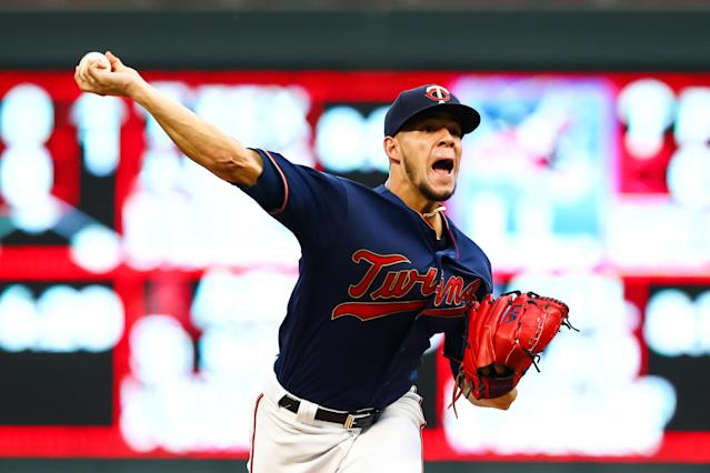 Minnesota Twins starting pitcher Jose Berrios (17) delivers a pitch against the Kansas City Royals at Target Field. (USA TODAY Sports)