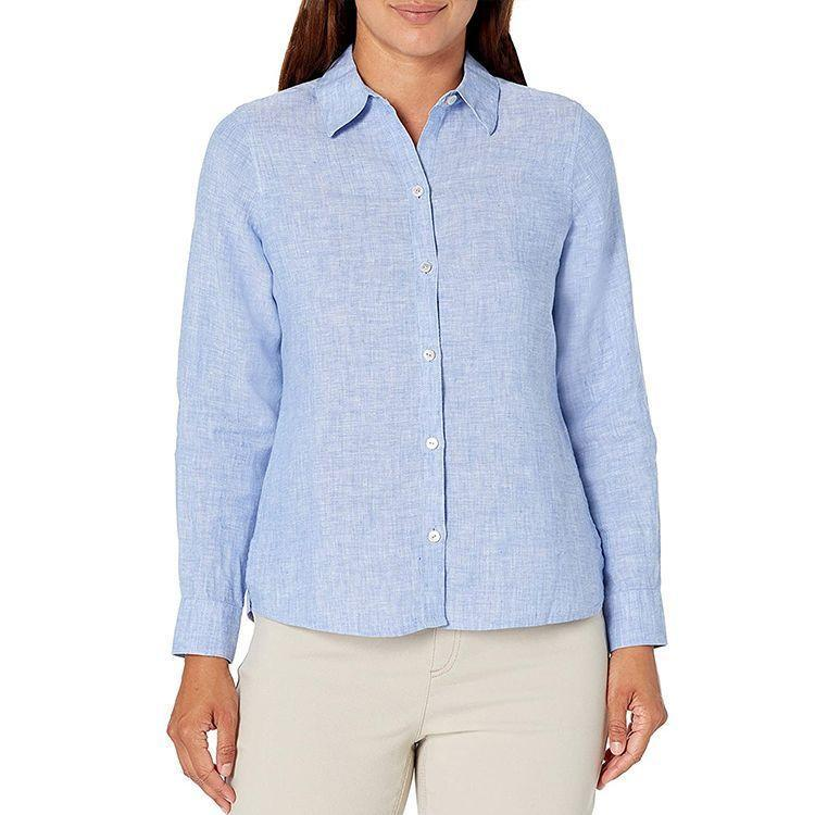 """<p><strong>Foxcroft</strong></p><p>amazon.com</p><p><strong>$61.59</strong></p><p><a href=""""https://www.amazon.com/dp/B085Y2LZKG?tag=syn-yahoo-20&ascsubtag=%5Bartid%7C2089.g.2353%5Bsrc%7Cyahoo-us"""" rel=""""nofollow noopener"""" target=""""_blank"""" data-ylk=""""slk:Shop Now"""" class=""""link rapid-noclick-resp"""">Shop Now</a></p><p>Nothing feels quite as good as a linen top during the summertime, and you'll love this button-down for cool summer days and nights. Wear it buttoned or over another top — the fashion options are endless.</p>"""