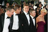 <p>At the premiere of <em>Oceans 13, </em>the final installment of the trilogy, with his costars and good friends Matt Damon and George Clooney.</p>