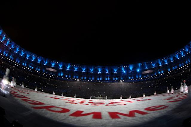 <p>Dancers perform during the 'Love Sport Tokyo 2020' segment during the Closing Ceremony on Day 16 of the Rio 2016 Olympic Games at Maracana Stadium on August 21, 2016 in Rio de Janeiro, Brazil. (Photo by Ezra Shaw/Getty Images) </p>