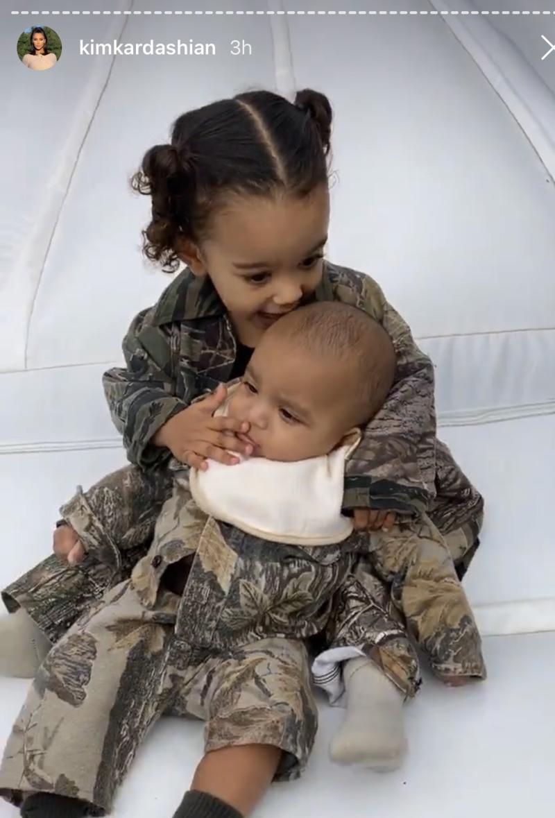 Kim Kardashian's two youngest children, Chicago West, and Psalm West, hang together at Saint West's 4th birthday party. (Instagram/KimKardashian)