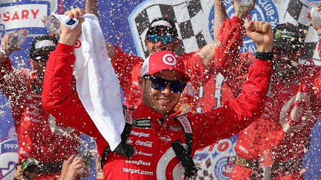 Larson pulled away from Elliott on a restart with five laps remaining.