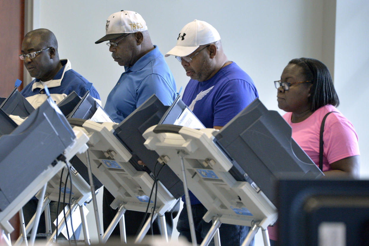 Citizens cast their ballots during early voting in Augusta, Ga., on Oct. 15, 2018. (Photo: Michael Holahan/Augusta Chronicle via AP)