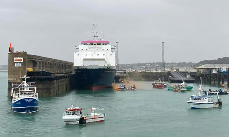 French fishing vessels staging their protest outside the harbour at St Helier on Thursday.