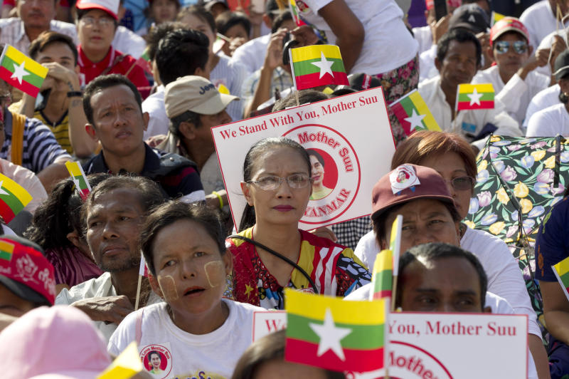 People attend a rally Sunday, Dec. 1, 2019, in Yangon, Myanmar. About 700 people rallied Sunday to show support for Myanmar's leader, Aung San Suu Kyi, as she prepares to defend the country against charges of genocide at the U.N.'s highest court. (AP Photo/Thein Zaw)