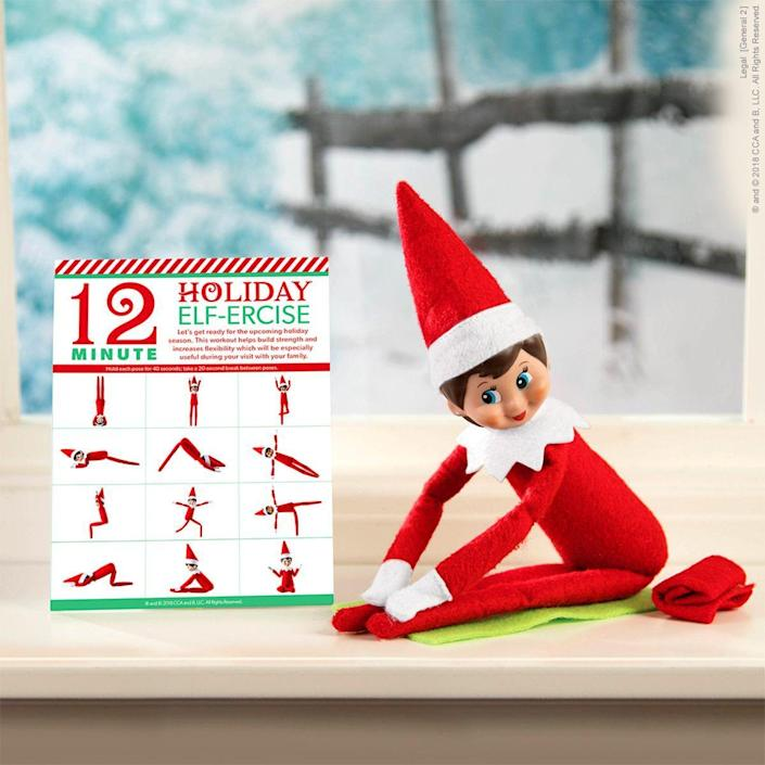 """<p>Hey, even Scout Elves have to stay in shape—especially with so many Christmas cookie to be eaten. This fun idea comes with an easy-to-use printable. </p><p><strong>Get the tutorial at <a href=""""https://elfontheshelf.com/elf-ideas/holiday-elf-ercise/"""" rel=""""nofollow noopener"""" target=""""_blank"""" data-ylk=""""slk:Elf on the Shelf"""" class=""""link rapid-noclick-resp"""">Elf on the Shelf</a>.</strong> </p>"""