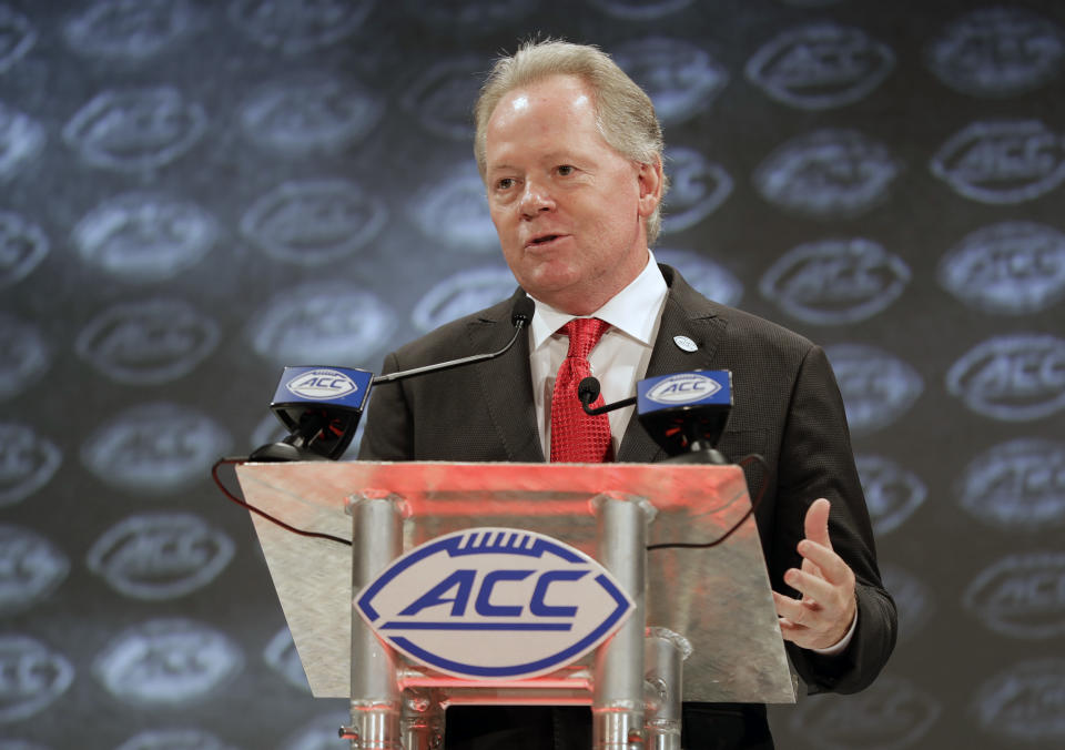 Louisville head coach Bobby Petrino answers a question during a news conference at the NCAA Atlantic Coast Conference college football media day in Charlotte, N.C., Thursday, July 19, 2018. (AP)