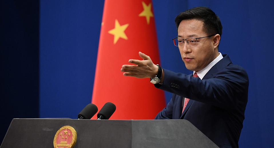 Chinese Foreign Ministry spokesman Zhao Lijian takes a question at the daily media briefing in Beijing on April 8, 2020. Source: AFP via Getty