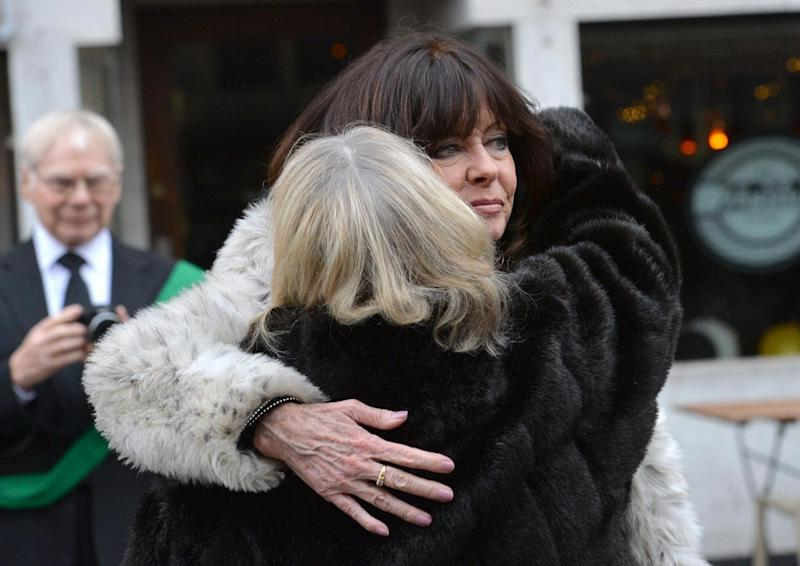 Co-stars: Vicki Michelle and Sue Hodge share a hug (Anna Gowthorpe/PA)
