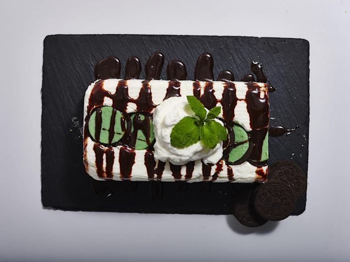 """<p><strong>Recipe: <a href=""""https://www.southernliving.com/syndication/mint-oreo-icebox-cake"""" rel=""""nofollow noopener"""" target=""""_blank"""" data-ylk=""""slk:Mint Oreo Icebox Cake"""" class=""""link rapid-noclick-resp"""">Mint Oreo Icebox Cake</a></strong></p> <p>This impressive icebox is much easier to make than it looks. </p>"""