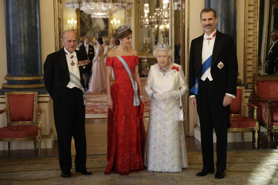 FILE - In this Wednesday, July 12, 2017 file photo Britain's Queen Elizabeth II, her husband Prince Philip, Spain's King Felipe and his wife Queen Letizia pose for a group photograph before a State Banquet at Buckingham Palace in London. Prince Philip's life spanned just under an entire century of European history. His genealogy was just as broad, with Britain's longest-serving consort linked by blood and marriage to most of the continent's royal houses. (AP Photo/Matt Dunham, File)