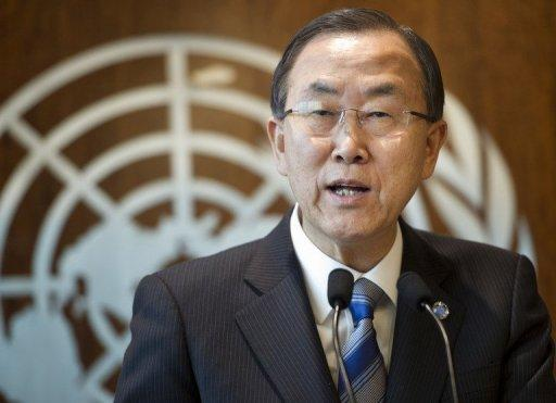 This March 21, 2013 hanout image shows UN Secretary-general Ban Ki-moon making a press statement about Syria