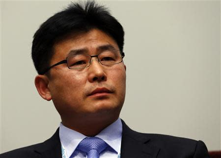 Former North Korean prison guard Ahn Myong Chul pauses during the sixth Geneva Summit for Human Rights and Democracy at the CICG in this file picture taken in Geneva February 25, 2014. REUTERS/Denis Balibouse/Files
