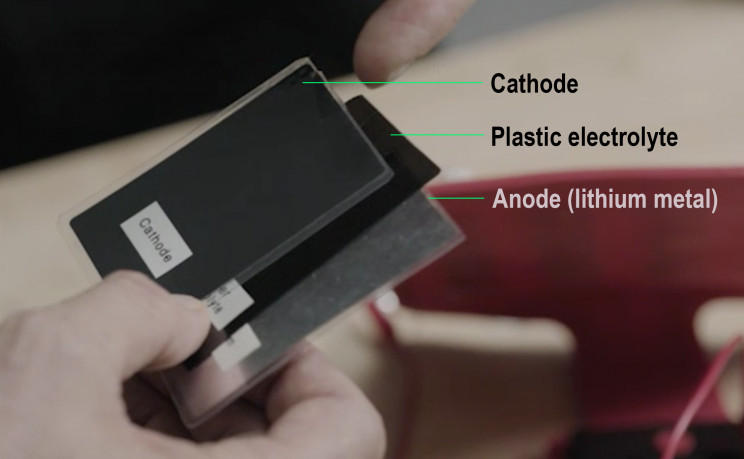 The Ionic Materials battery is a sandwich—entirely solid.