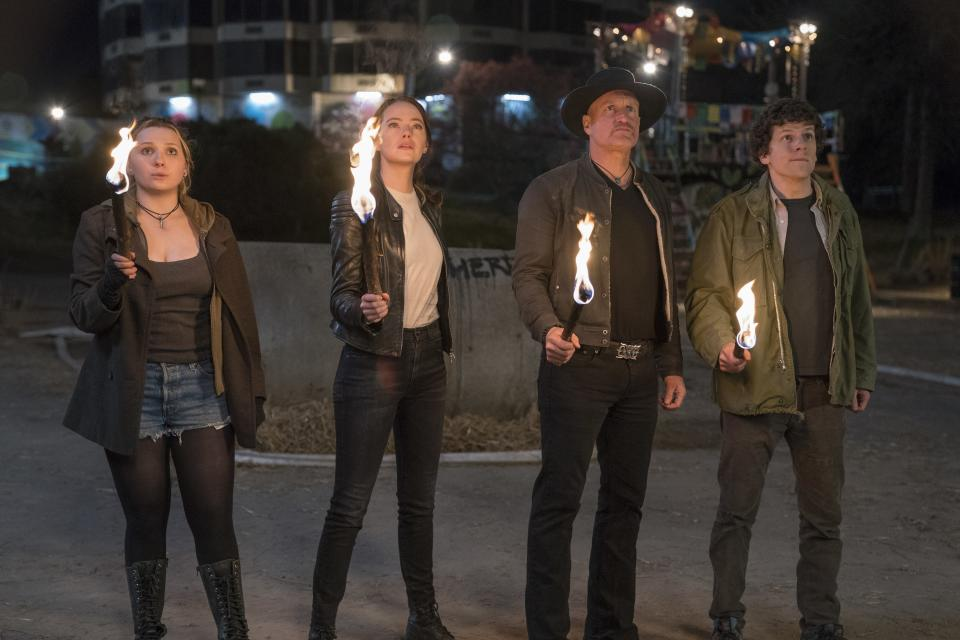 Abigail Breslen, Emma Stone, Woody Harrelson and Jesse Eisenberg reunite for <i>Zombieland: Double Tap</i>. (Sony Pictures)