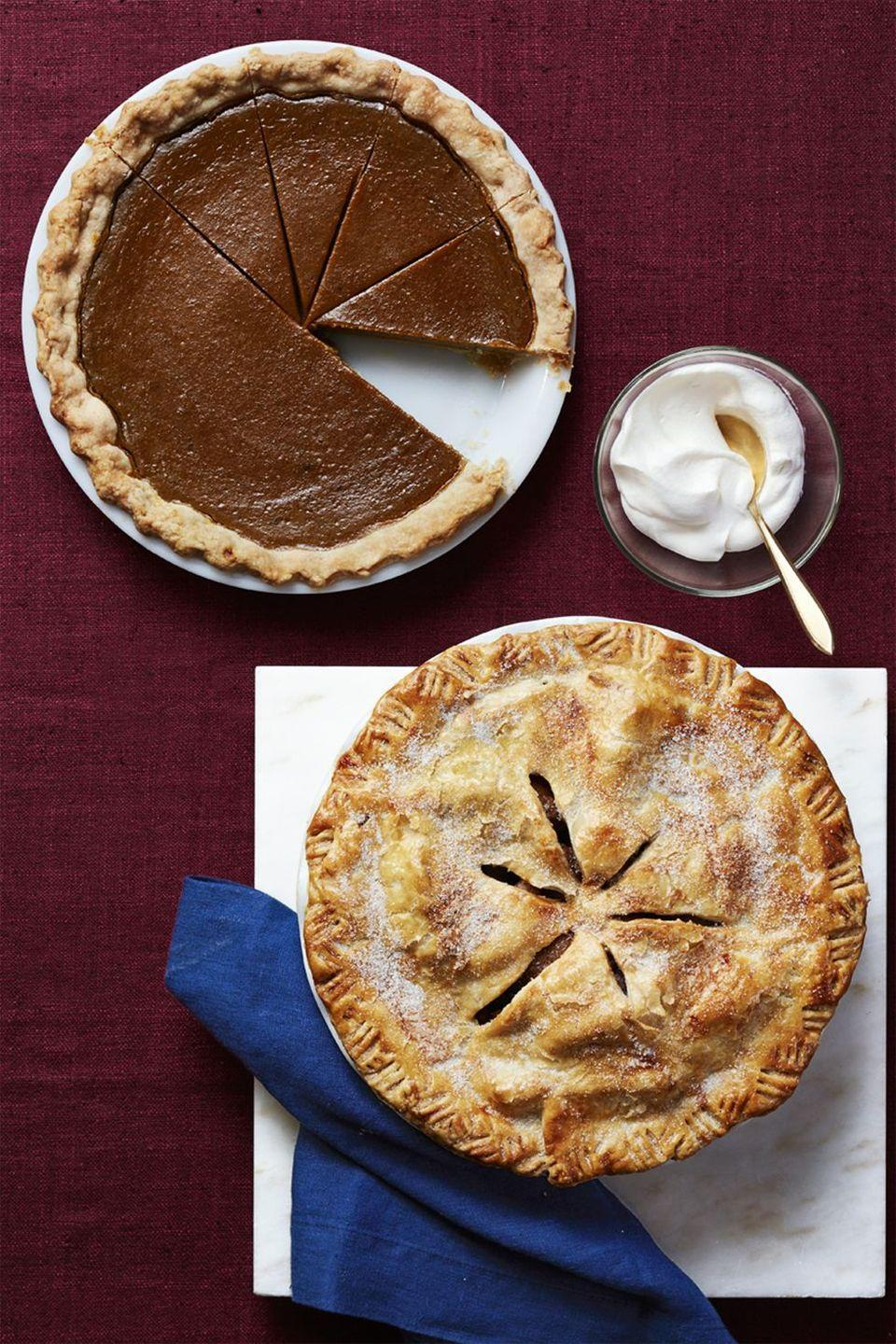 """<p>This treat uses all the flavors of <a href=""""https://www.goodhousekeeping.com/food-recipes/dessert/a29439992/apple-pie-with-cheddar-cheese-crust-recipe/"""" rel=""""nofollow noopener"""" target=""""_blank"""" data-ylk=""""slk:apple pie"""" class=""""link rapid-noclick-resp"""">apple pie</a> (think: lots of cinnamon and nutmeg) but swaps in pears for the typical fall fruit. We promise, you won't mind!</p><p><em><a href=""""https://www.womansday.com/food-recipes/food-drinks/recipes/a56477/pear-pie-recipe/"""" rel=""""nofollow noopener"""" target=""""_blank"""" data-ylk=""""slk:Get the recipe from Woman's Day »"""" class=""""link rapid-noclick-resp"""">Get the recipe from Woman's Day »</a></em></p>"""
