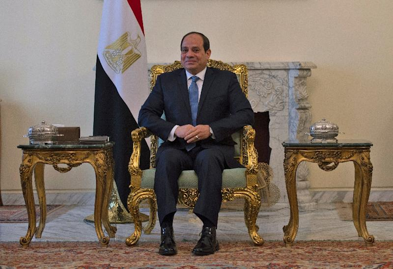 Egyptian President Abdel Fattah al-Sisi is pictured during his meeting with the US secretary of state in Cairo (AFP Photo/ANDREW CABALLERO-REYNOLDS)