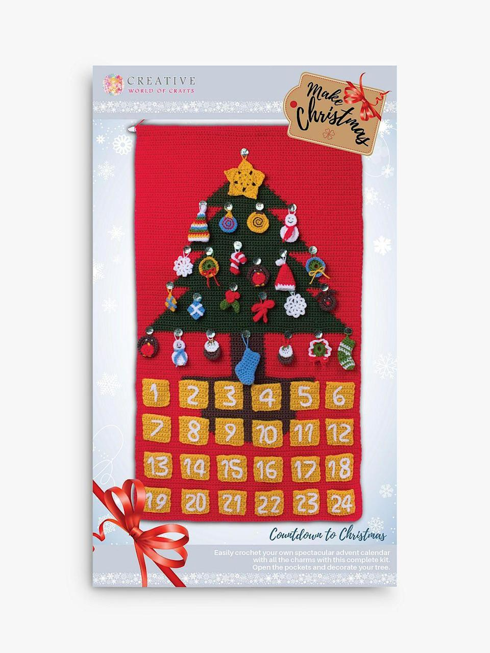 """<p><a class=""""link rapid-noclick-resp"""" href=""""https://go.redirectingat.com?id=127X1599956&url=https%3A%2F%2Fwww.johnlewis.com%2Fknitty-critters-christmas-advent-calendar-crochet-kit%2Fp4245244&sref=https%3A%2F%2Fwww.housebeautiful.com%2Fuk%2Flifestyle%2Fshopping%2Fg150%2Falternative-advent-calendar%2F"""" rel=""""nofollow noopener"""" target=""""_blank"""" data-ylk=""""slk:BUY NOW"""">BUY NOW</a> £40 via John Lewis & Partners</p><p>Crochet your own advent calendar with all the charms with this kit from Knitty Critters. It's suitable for those with intermediate crochet skills.</p>"""