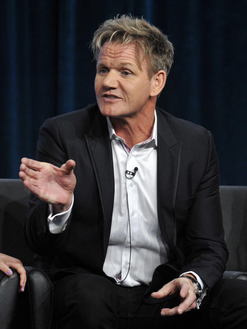 """Gordon Ramsay, judge/executive producer of the FOX show """"Master Chef Junior,"""" answers questions from reporters during the FOX 2013 Summer TCA press tour at the Beverly Hilton Hotel on Thursday, Aug. 1, 2013 in Beverly Hills, Calif. (Photo by Chris Pizzello/Invision/AP)"""