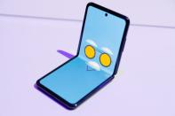 A Samsung Galaxy Z Flip foldable smartphone is seen during Samsung Galaxy Unpacked 2020 in San Francisco