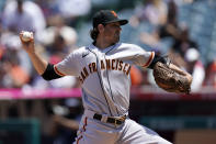 San Francisco Giants starting pitcher Kevin Gausman throws to the plate during the second inning of a baseball game against the Los Angeles Angels Wednesday, June 23, 2021, in Anaheim, Calif. (AP Photo/Mark J. Terrill)